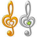 Treble clef in the shape of heart Stock Image