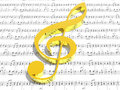 Treble clef on sheet of printed music Royalty Free Stock Photos