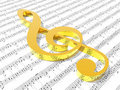 Treble clef on sheet of printed music Royalty Free Stock Photo