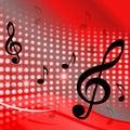 Treble clef tło pokazuje muzyczne notatki i Obrazy Stock