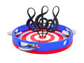Treble clefs on tambourine Stock Image