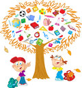 Tree autumn the illustration shows the instead of leaves shows the attributes and items for school under the funny boy and girl Stock Photos