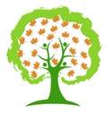 Tree autumn leafs icon