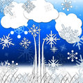Tree Background Means Branches Leaves And Snowflakes Royalty Free Stock Photo
