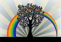 Tree background with rainbow Royalty Free Stock Images
