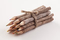 Tree bark pencils group of rustic made from branches Stock Photo