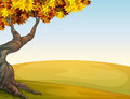 A tree and a beautiful landscape illustration of Stock Photo