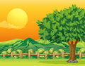 A tree and a beautiful landscape illustration of Royalty Free Stock Image