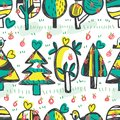 Tree bird apple horizontal free drawing seamless pattern