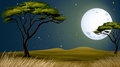 A tree and the bright fullmoon Royalty Free Stock Photo