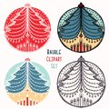Christmas tree candles bauble ornament set. Isolated festive design element. Hand draw winter holiday clip art icon. Festive red