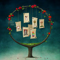Tree with cards Royalty Free Stock Photography