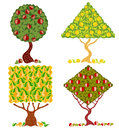 Tree cartoon abstract there are four fruit trees Stock Photos