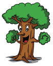 Tree cartoon happy smile Royalty Free Stock Photo