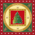 Tree christmas illustration of with frame and decorations Royalty Free Stock Images