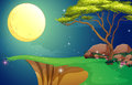 A tree at the cliff under the bright fullmoon illustration of Stock Photography