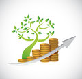 Tree coin business graph illustration design over a white background Royalty Free Stock Photo