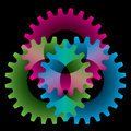 Tree colored gears Stock Photography