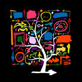 Tree with colorful arrows, sketch for your design