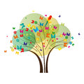 Tree with colorful butterflies blossoms and parrot Royalty Free Stock Photos