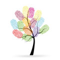 Tree with colorful finger prints vector Royalty Free Stock Photo