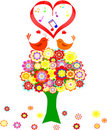 Tree in colorful  flower with love bird Stock Photo