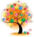 Tree of colorful gift vector gifts a big stylish with gifts and presents on the branches for seasonal usage create by Royalty Free Stock Image