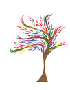 Tree colorful logo leaves wind blowing
