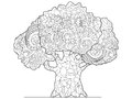 Tree coloring vector for adults Royalty Free Stock Photo