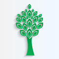 Tree cut from green paper on white background eco icon Royalty Free Stock Photos