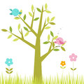 Tree cute birds sitting branches flowers grass below Royalty Free Stock Photography