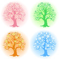 Tree in different seasons the illustration shows a achieved a vector on separate layers Royalty Free Stock Images