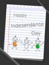 Tree doodles with text Happy Independence Day. Royalty Free Stock Photo