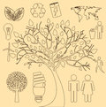 Tree ecology icons Royalty Free Stock Photo
