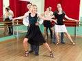 Tree elegant couples dancing waltz positive in class Stock Images