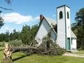 Tree falls on church Royalty Free Stock Photography