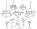 Tree, flowers and floral design elements, Sketch set Royalty Free Stock Photo