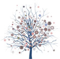 Tree with flowers vector illustration of Royalty Free Stock Images