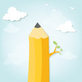 Tree in the form of pencil in the clouds Royalty Free Stock Photo