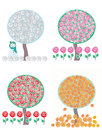 Tree in four season vector Royalty Free Stock Photos