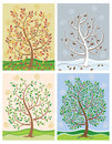 Tree in Four Seasons Stock Photos