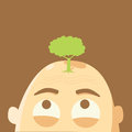 Tree on glabrous head global warming concept Royalty Free Stock Photography