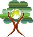 Tree globe man logo Royalty Free Stock Photo