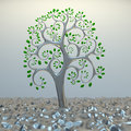 Tree from golden section elements. Royalty Free Stock Photography