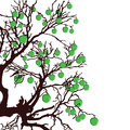 Tree with green apples color vector illustration Stock Images