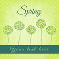 Tree with green spiral leaves spring theme illustration Royalty Free Stock Images