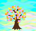 The tree grows with colored sheets of paper on an abstract background mosaic Royalty Free Stock Photo