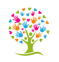 Tree hands and hearts with Royalty Free Stock Photos