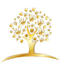 Tree with hands and hearts logo Royalty Free Stock Photo