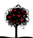 Tree with hearts and storks Royalty Free Stock Photo